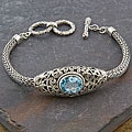 Sterling Silver 'Cawi' Blue Topaz Toggle Bracelet (Indonesia)
