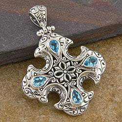 Blue Topaz Silver 'Cawi' Pendant (Indonesia)