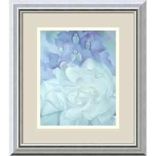 Georgia O'Keeffe 'White Rose with Larkspur No.2' Framed Art Print