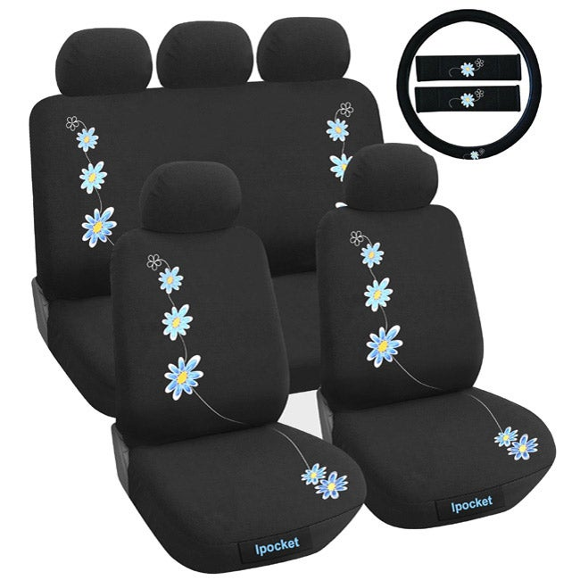 Daisy Blue Flower 12-piece Universal Fit Seat Cover Set (Airbag-friendly)