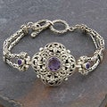 Sterling Silver 'Cawi' Amethyst Toggle Bracelet (Indonesia)