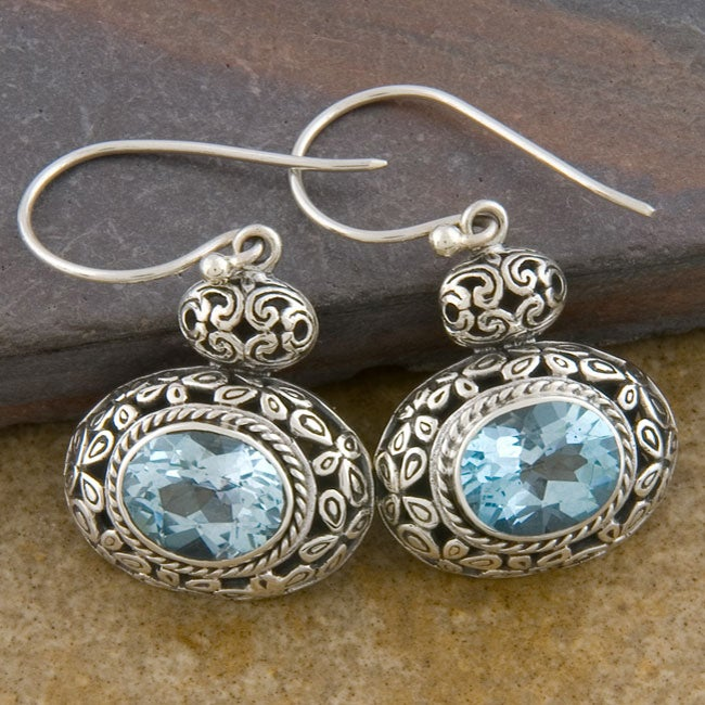 Sterling Silver 'Cawi' Blue Topaz Dangle Earrings (19 mm) (Indonesia)