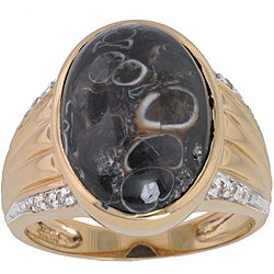 Michael Valitutti 14k Gold Fossilized Shell, 1/10 TDW Diamond Ring