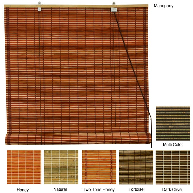 Burnt Bamboo 72-inch Roll-up Window Shade (China)