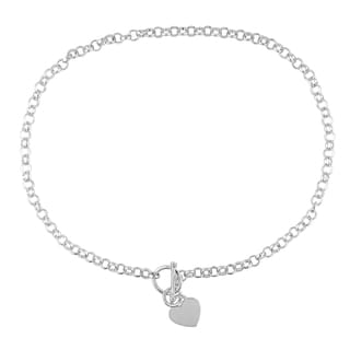 Miadora Sterling Silver Heart Toggle Necklace