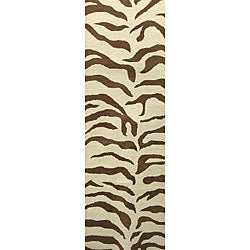 nuLOOM Zebra Animal Pattern Brown/ Ivory Wool Rug (2'3 x 8')