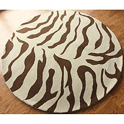 nuLOOM Zebra Animal Pattern Brown/ Ivory Wool Rug (6' Round)