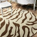nuLOOM Zebra Animal Pattern Brown/ Ivory Wool Rug (8' Round)