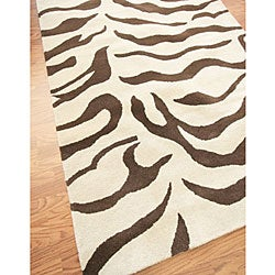 nuLOOM Zebra Animal Pattern Brown/ Ivory Wool Rug (8'6 x 11'6)