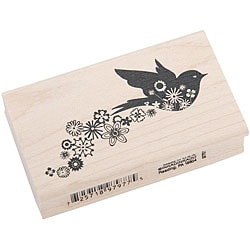 Inkadinkado Rubber/ Wood Floral Bird Trail Stamp
