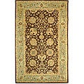 Handmade Mashad Brown/ Green Wool Rug (5' x 8')