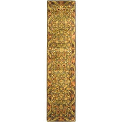 Handmade Antiquities Kerman Charcoal Green Wool Runner (2'3 x 12')