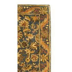 Handmade Exquisite Blue/ Gold Wool Runner (2'3 x 10')