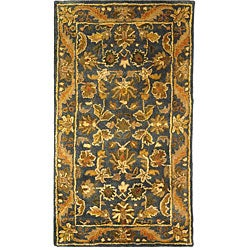 Handmade Exquisite Blue/ Gold Wool Runner (2'3 x 4')