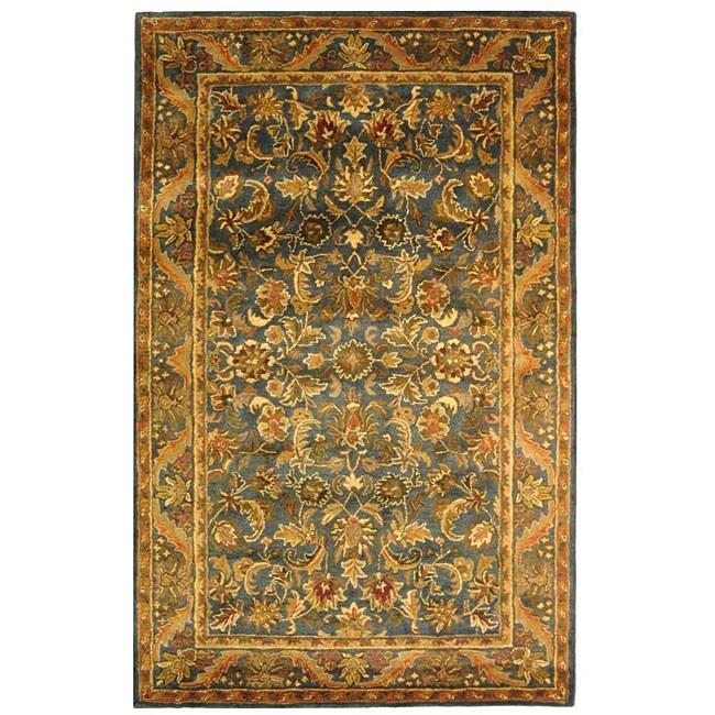 Safavieh Handmade Exquisite Blue/ Gold Wool Rug (5' x 8')