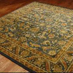Handmade Exquisite Blue/ Gold Wool Rug (6' x 9')