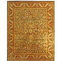 Handmade Antiquities Kerman Charcoal Green Wool Rug (8'3 x 11')