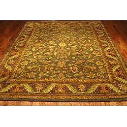 Handmade Antiquities Kerman Charcoal Green Wool Rug (9'6 x 13'6)
