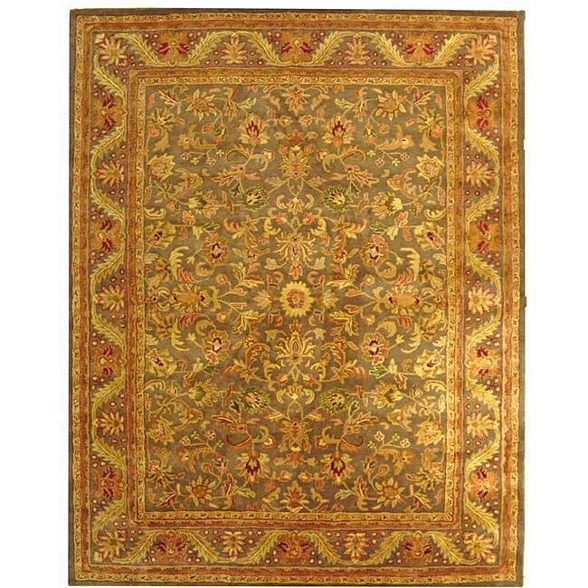 Safavieh Handmade Antiquities Kerman Charcoal Green Wool Rug (7'6 x 9'6)