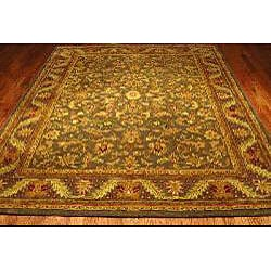 Handmade Antiquities Kerman Charcoal Green Wool Rug (7'6 x 9'6)