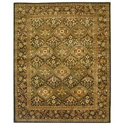 Handmade Tabriz Olive Wool Rug (5' x 8')