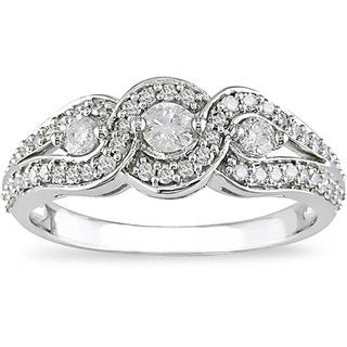 Miadora 14k White Gold 1/2ct TDW Diamond 3-stone Halo Ring (I-J, I2-I3)