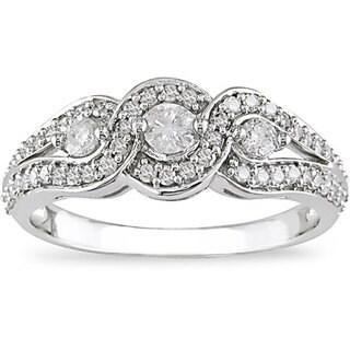 Miadora 14k White Gold 1/2ct TDW Diamond Ring (I-J, I2-I3) with Bonus Earrings