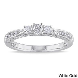 Miadora 10k Gold 1/4ct TDW Diamond 3-stone Ring (H-I, I2-I3)