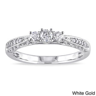 Miadora 10k Gold 1/4ct TDW Diamond 3-stone Ring (H-I, I2-I3) with Bonus Earrings
