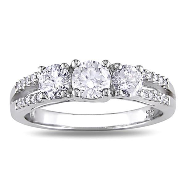 14k White Gold 1ct TDW Diamond Three Stone Ring (I-J, I2-I3)
