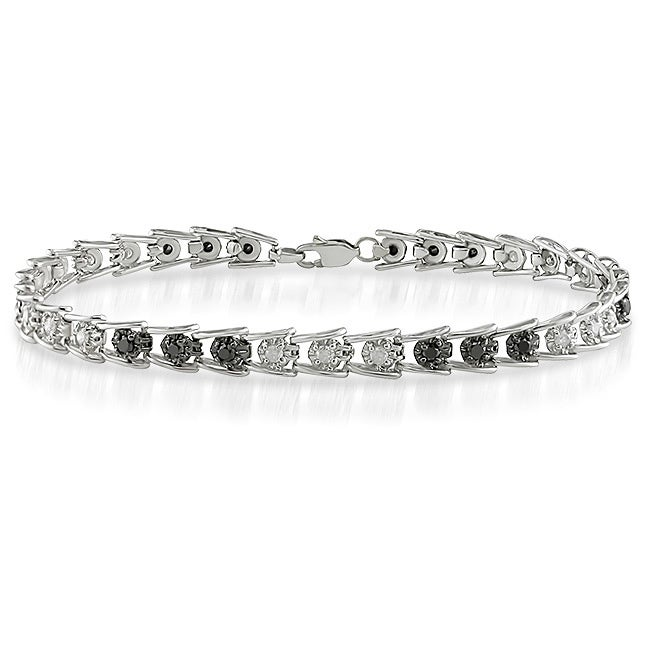 14k White Gold 1ct TDW Black/ White Diamond Bracelet (J-K, I3)