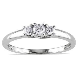 Miadora 10k White Gold 1/4ct TDW Diamond Ring (J-K, I2-I3) with Bonus Earrings