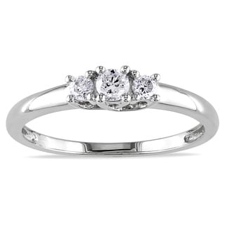 Miadora 10k White Gold 1/4ct TDW Diamond Ring (J-K, I2-I3)