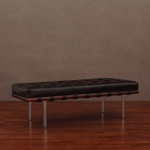 Andalucia Leather Walnut Wood 50 Bench Overstock Shopping Great Deals On Benches