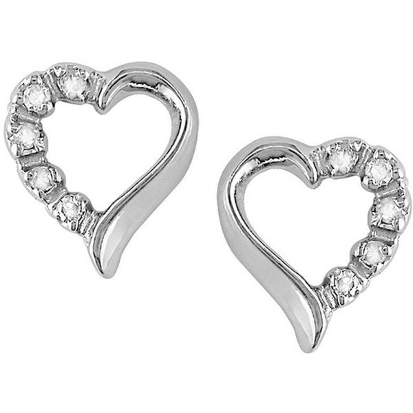 M by Miadora 10k White Gold Diamond Accent Heart Earrings