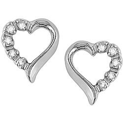 Miadora 10k White Gold Diamond Accent Heart Earrings