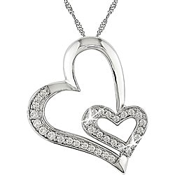 Miadora 10k White Gold 1/4ct TDW Diamond Hearts Necklace (I-J, I2-I3)
