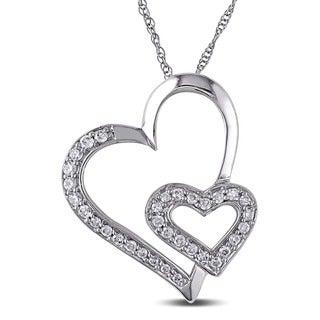 Miadora 10k White Gold 1/4ct TDW Diamond Hearts Necklace (I-J, I2-I3)