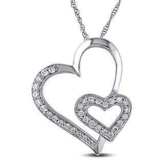 Miadora 10k White Gold 1/4ct TDW Diamond Hearts Necklace (I-J, I2-I3) with Bonus Earrings