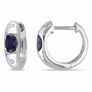 Miadora 10k White Gold Sapphire and Diamond Earrings