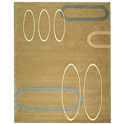 Handmade Soho Ellipses Beige New Zealand Wool Rug (7'6 x 9'6)