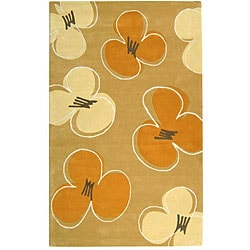 Handmade Soho Daisy Gold New Zealand Wool Rug (5' x 8')
