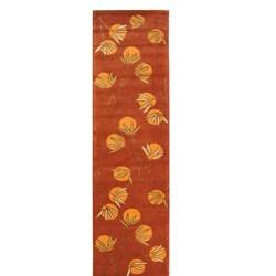 Handmade Soho Summer Rust New Zealand Wool Runner (2'6 x 10)