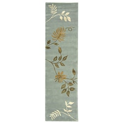 Safavieh Handmade Soho Twigs Light Blue New Zealand Wool Runner (2'6 x 8')