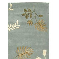 Handmade Soho Twigs Light Blue New Zealand Wool Rug (5' x 8')