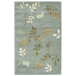 Handmade Soho Twigs Light Blue New Zealand Wool Rug (3'6 x 5'6)
