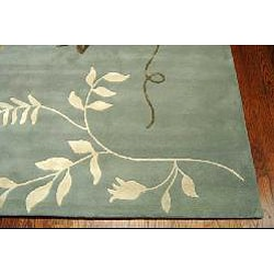 Handmade Soho Twigs Light Blue New Zealand Wool Rug (9'6 x 13'6)