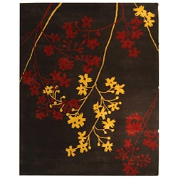 Handmade Soho Autumn Brown New Zealand Wool Rug (7'6 x 9'6)