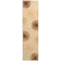 Handmade Soho Burst Beige New Zealand Wool Runner (2'6 x 14')