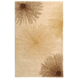 Handmade Soho Burst Beige New Zealand Wool Rug (6' x 9')